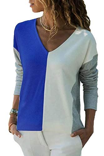 YOINS Camiseta de Manga Larga para Mujer Camisa Cuello V Blusa Sexy Moda Top Otoño Invierno Azul-02 XL