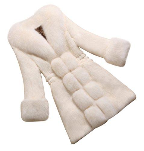 fake felljacke CHENGYANG Damen Jacke Faux Fur Warm Kunstpelz Langarm Jacket Parka Mantel Felljacke Tops (Weiß#2, L)