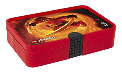 LEGO Ninjago Sortierbox, Aufbewahrungsbox/-kasten mit Fächern, durchsichtig rot