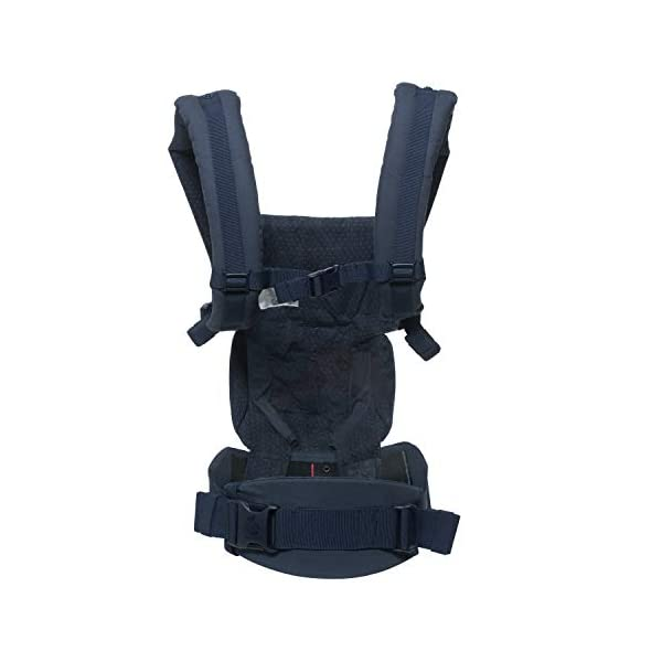 """ERGObaby Baby Carrier for Newborn to Toddler, 4-Position Omni 360 Navy Mini Dots, Ergonomic Child Carrier Backpack Ergobaby Baby carrier with 4 ergonomic wearing positions: parent facing, on the back, on the hip and on the front facing outwards. Supports hip-healthy """"m"""" shape position for baby's comfort and ergonomics. Adapts to baby's growth: Infant baby carrier newborn to toddler (7-33 lbs./ 3.2 to 20 kg), no infant insert needed. Tuck-away baby hood for sun protection (UPF 50+) and privacy. NEW - Maximum comfort for parent: Longwear comfort with lumbar support waistbelt and extra cushioned shoulder straps. 2"""