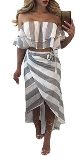 Blansdi Damen Sommer Elegant Spaghetti-Bügel V-Ausschnitt Strandkleid Floral Zweiteiler Kleider Sets Crop Tops A-linie Rock Abendkleid Cocktailkleid Clubwear Partykleid Hell Grau