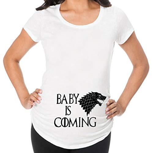 Topgrowth maglia premaman divertenti maglietta a maniche corte donna stampa di lettere casual t shirt gravidanza camicetta top premaman bianco