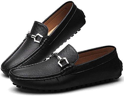Odema hommes Chaussures de course en cuir PU Slip-on Mocassins Flat Loafer Noir