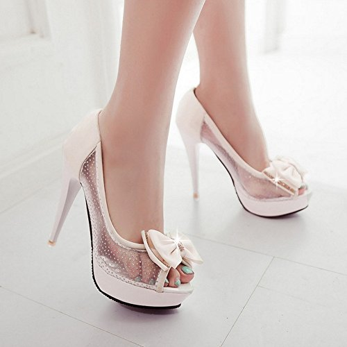 TAOFFEN Femmes Elegant Peep Toe Sandales Aiguille Talons Hauts A Enfiler Chaussures De Bowknot Beige