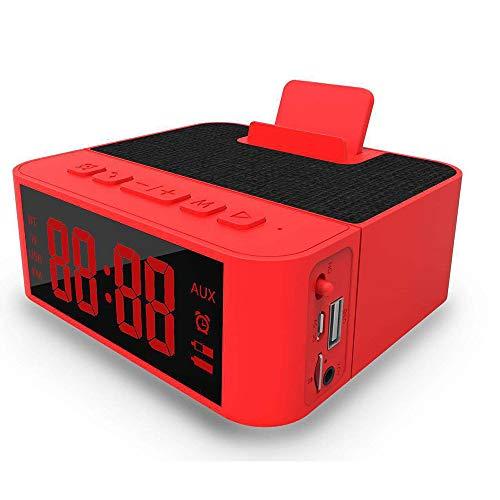 ZUEN Digitaler Wecker Multifunktionsradio Integrierter, maschinengefertigter kabelloser Lautsprecher, Am/Fm-Radio-USB-Ladeanschluss, Schlummerfunktion, Wechselstrom- und Batteriebetrieb,Red (Am-fm-radiowecker Für Iphone)