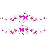 Coche lateral Fancy Sparkling brillante romántico gráficos mariposas estrellas (30cm x 60cm) elegir color 18colores en stock baño, Childs Dormitorio, sala de niños pegatinas, vinilo de coche, Windows y adhesivo decorativo para pared, de pared Windows Art, dodoskinz, diseño de vinilo adhesivo ThatVinylPlace, Rosa, 60 x 30 cm