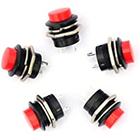 Ytian 5X Interruptor pulsador 3A 250V apagado/encendido momentáneo rojo