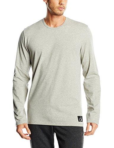 Calvin Klein Herren Langarmshirt L/S Crew Neck, Gr. Large, Grau (Grey Heather 080) (Herren-nachtwäsche Calvin Klein)
