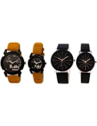 Om Designer Black Dial Crystle Glass & Hubby-Wifey Couple Watch For Men's & Women's- Leather Belt (Pack Of 4 Watches...