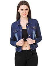 GSAMALL Denim 3/4 Sleeves Comfort Fit Regular Collar Blue Jacket for Women
