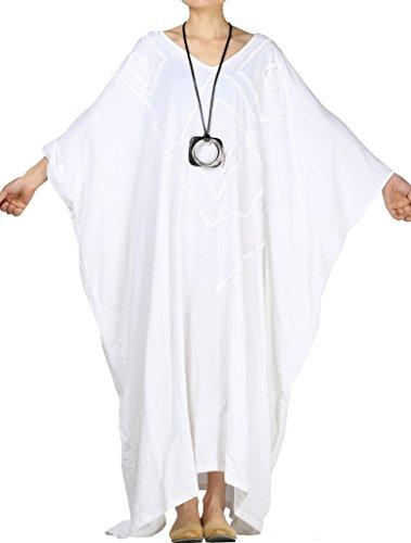 MatchLife Damen Kaftan Tunika Kimono Kleid Bat Ärmel Maxi Leinenkleid Mittelalter lang Kleid (Kleid Weiss Mittelalter)