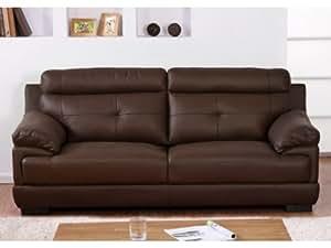 Canapé 3 places en cuir de buffle MANUELLA - Chocolat