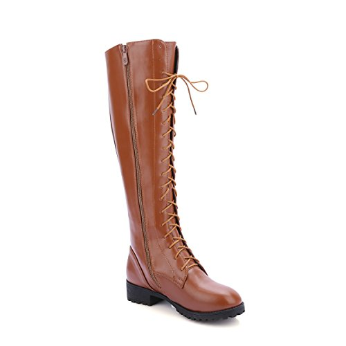 YE Damen Chunky heel Plateau Langschaft Stiefel Kniehoch mit Blockabsatz Schnürsenkel Schuhe Braun