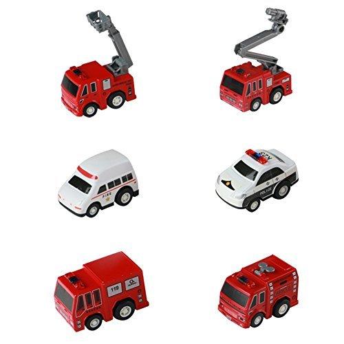 Voiture Miniature de Ville Véhicules de Friction 6 PCS Jouets avec Coloriage Instruction pour Enfant Garçons Filles 3 Ans et Plus 0603981389333