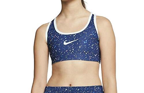 Nike Pro Reversible Printed Sport BH für ältere Mädchen (Blue Void, XS)