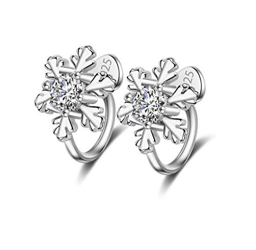 Ohrclip ohne ohrloch Damen mädchen 925er Sterling Sliber mit Bling-Zirkonia Schneeflocke flocke ohrklemmen Ohrringe