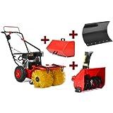 HECHT 3-in-1 Benzin-Kehrmaschine 8616 SE Multifunktionsgerät SET Kehrbesen Kehrbürste + 230V Elektro-Start Funktion (inkl. Schneefräse / Auffangbox und Räumschild, Räumbreite 62 cm)