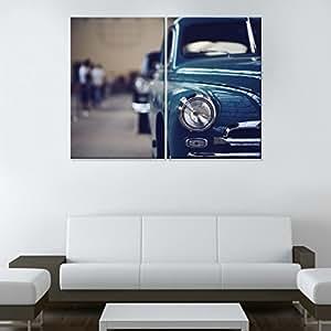 RAIN QUEEN Peinture toile à l'huile SANS CADRE Grand Format 50x75*2 Voiture Bleu 2 parties