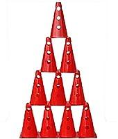 agility sport pour chiens - lot de 10 cônes avec trous, 23 cm, rouge - 10x MZK23r
