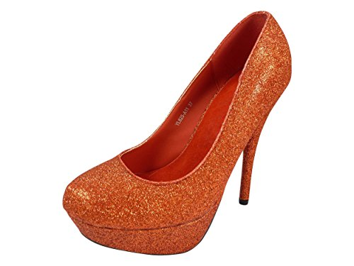 Chaussures de mariage à paillettes, talons hauts Rouge