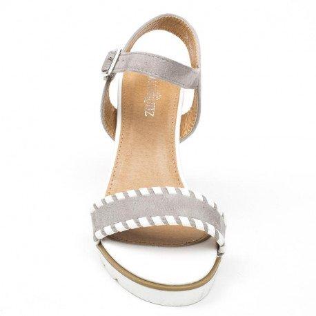 Ideal Shoes - Sandales compensées bi-matière Madeleine Gris