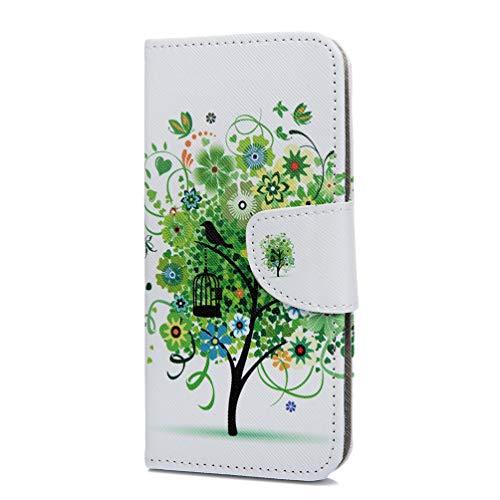 Hülle für Galaxy A40, Schmetterling Muster Leder Handy Schutzhülle für Samsung Galaxy A40 Flip Case Brieftasche Etui Schutzhülle Standfunktion Kartenfach Magnetverschluss Panzerglas Case Cover
