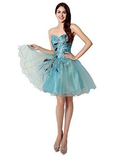 Sarahbridal Damen Tüll Herzform Abendkleider Kurz Ballkleid Abschlusskleider SSD039 Himmelblau EU44