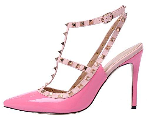 MONICOCO oversize candy boucle t-spangen creux couleurs de chaussures en cuir verni escarpins avec rivets Pfirsichrot Lackleder