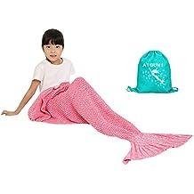 AIGUMI Manta de sirena, manta de dormir para todas las estaciones, cola de sirena, de ganchillo, caliente, para niños, lana, Rosa, 140*70CM