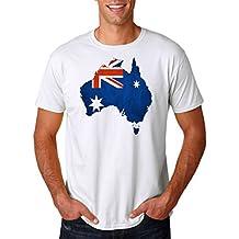 Mapa de Australia bandera australiana efecto–Mens T Shirt