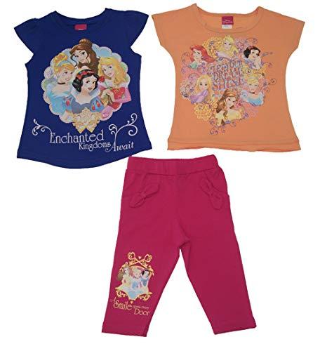 Disney Prinzessinnen Mädchen Sommer Set Outfit mit Leggings und 2 Stück Kurzarm Polo Top Shirts Oberteile Geschenk in G 92 98 104 110 116 122 Größe 98 (Prinzessin-dvd-set Disney)