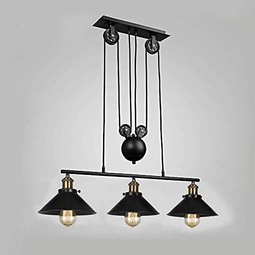 L'ascenseur de poulie de lampe de style industriel rétro peut être ajusté en hauteur, lustre noir en fer forgé à 3 lumières, Peut être utilisé dans le café du bar de la cuisine du restaurant