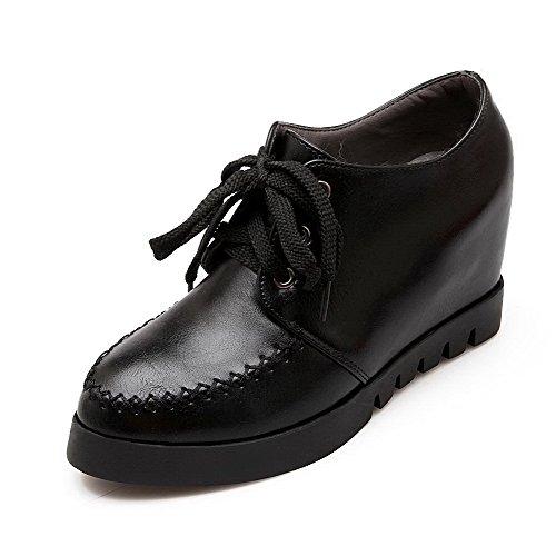 VogueZone009 Femme Couleur Unie Matière Souple à Talon Haut Lacet Rond Chaussures Légeres Noir