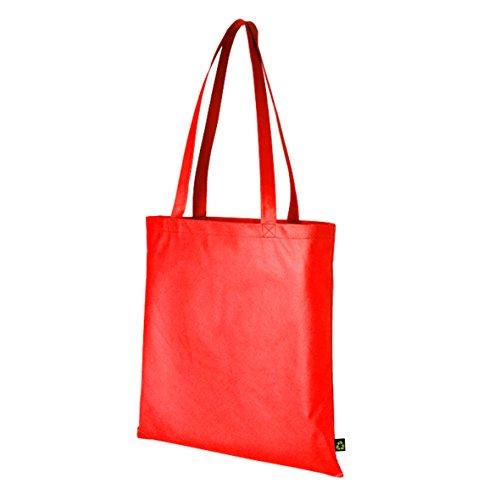 Borsa con manici lunghi, riutilizzabile, dal colore brillante, ideale per lo shopping o la palestra Rosso