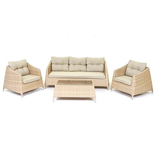Set salottino sofa Ibiza 2 poltrone divanetto tavolino salotto giardino M0907-15