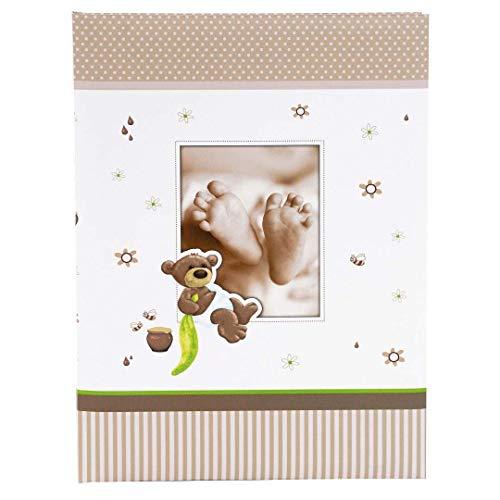 Goldbuch Babytagebuch, Honigbär, 21 x 28 cm, 44 illustrierte Seiten mit Pergamin-Trennblättern, Kunstdruck, Weiß/Braun, 11238