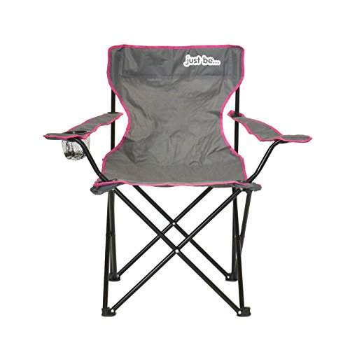 just be…® Folding Camping Chair – Grey with Pink Trim