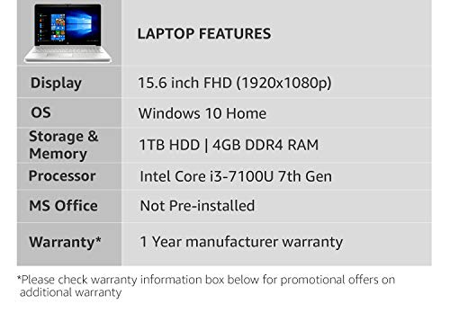 HP 15 Core i3 7th gen 15.6-inch Laptop (4GB/1TB HDD/Windows 10 Home/Sparkling Black/2.04 kg), 15-DA0326TU