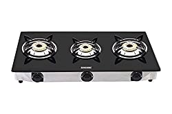 Sunshine Three Burner Designer Metro Glass Top Gas Stove