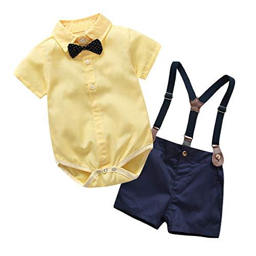 Fenverk 2Pc Baby Jungen Bodysuit Tuxedo Gentleman Kurzarm Strampler HosenträGer Bowknot Kinder Kleinkind Junge Kleidung Spielanzug Sommer Babys Taufe Hochzeit 3-24 Monate(Gelb,18-24 Monate) -