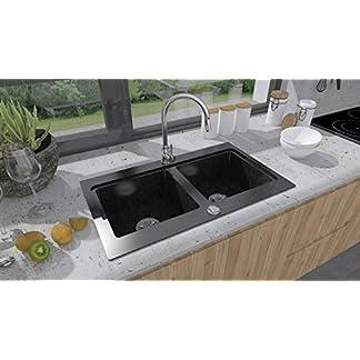 BRENOR Nubiru – Fregadero de cocina, Rectangular de Granito con Desagüe Desplegable, Tamaño 79,5 x 45,5 cm