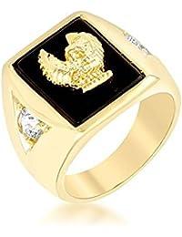 ISADY - Freedom - Men's Ring - Cubic Zirconia - Onyx Black - Eagle US Army