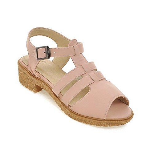 AllhqFashion Damen Schnalle Weiches Material Niedriger Absatz Fischkopf Schuhe Sandalen Pink