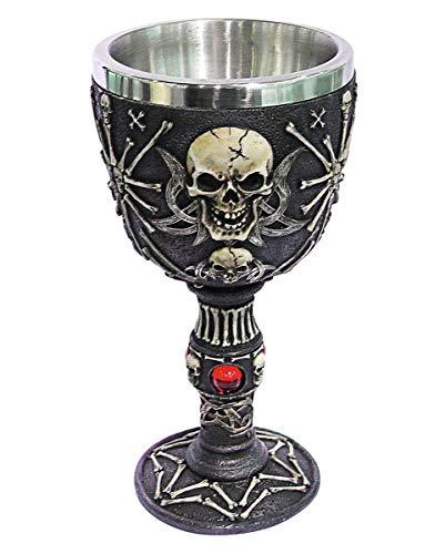 Horror-Shop Gothic Totenkopf Skelett Schädel Kelch als Geschenkidee & Dekoration