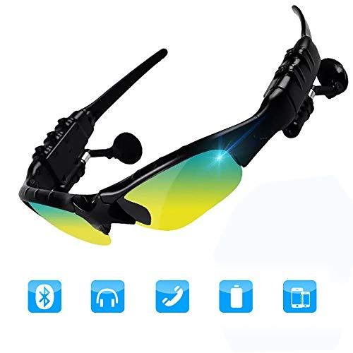 YJHW Bluetooth drahtlose Sonnenbrille Musik Sonnenbrille Freisprecheinrichtung für iPhone 7/7 sowie Samsung Bluetooth-Geräte,Yellow