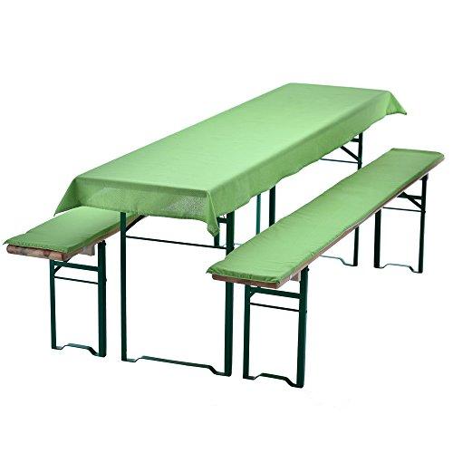 PROHEIM Bierbankauflagen Set 240x70 cm grün - Tischdecke für 50cm Tisch und 2 gepolsterte Bankauflagen 220x25cm - Auflagen Set für alle gängigen Bierzeltgarnituren