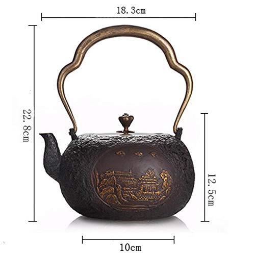 FJH Gusseisen Teekanne,Japanischer Art-unbeschichteter Handgemachter Tee-Kessel 1.2L 3902