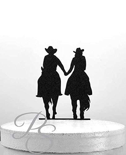 r Cowboy und Cowgirl Hochzeit Country Western Hochzeit Pferd Reiten Kuchen Topper ()