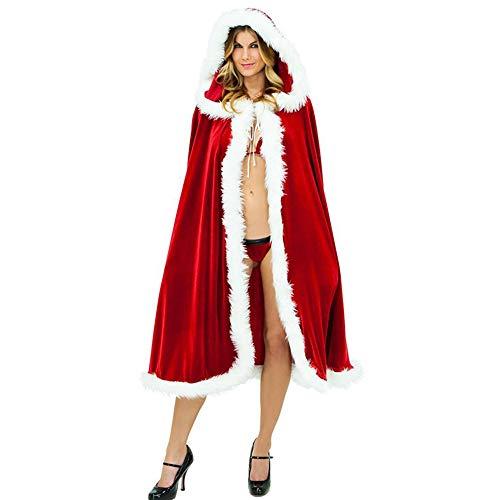 Erwachsene Mädchen Weihnachts-Mantel Kleid Langen Ärmel Schal Walk Show Weihnachts-Flanell-Bühne Cape Santa Claus Dress up,Redcode(150CM) (Lange Ärmel Flanell)