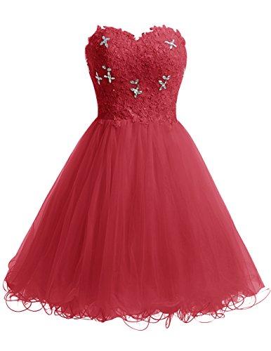 Dresstells Robe courte de soirée de cocktail Robe de bal en tulle emperlée bustier en cœur Rouge Foncé